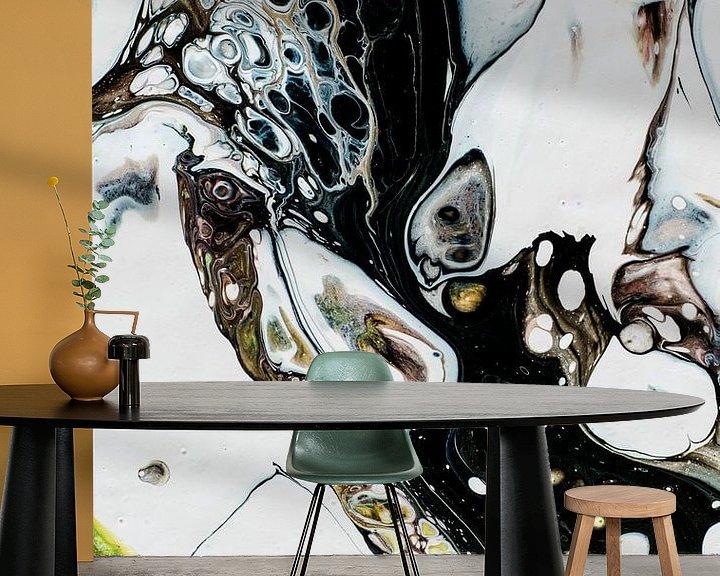 Sfeerimpressie behang: Inkt Geel en zwart van angelique van Riet