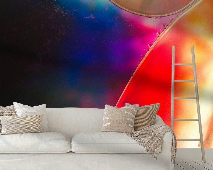 Sfeerimpressie behang: Cellen rood, oranje, blauw, roze, geel van angelique van Riet
