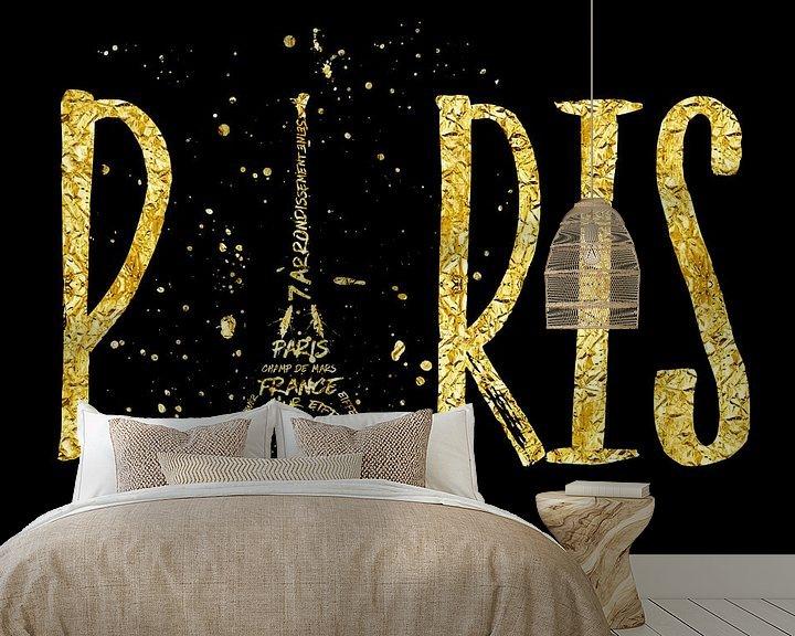 Beispiel fototapete: PARIS Typografie   gold splashes von Melanie Viola