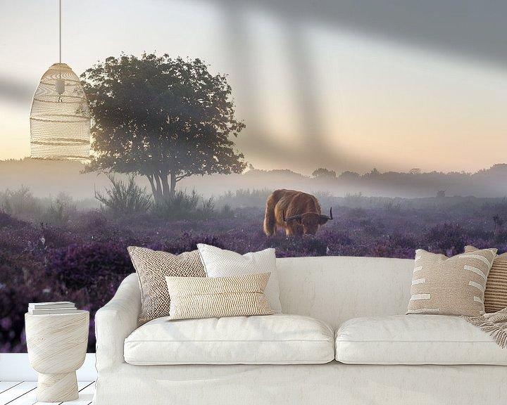 Sfeerimpressie behang: Vroege ochtend op de heide van Emile Kaihatu