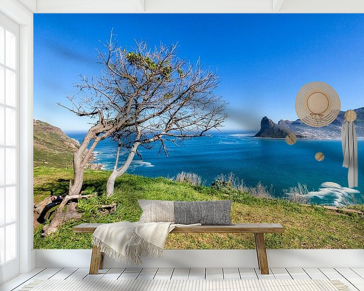 Sfeerimpressie behang: Houtbaai  Kaapse schiereiland Zuid-Afrika van Cor de Bruijn