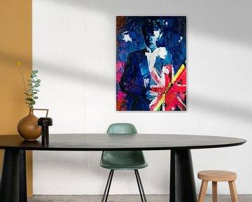 Motiv Porträt - David Bowie Union Jacks - The Duke Chic - Deep Blue van Felix von Altersheim