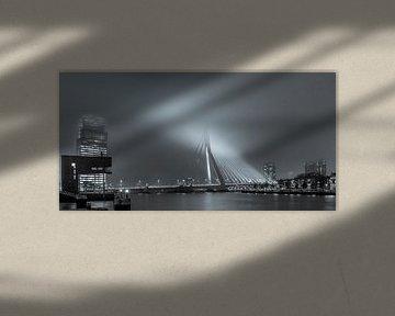 die Erasmus-Brücke von der Stieltjesstraat, spät in der Nacht im Nebel, schwarz und weiß von Marc Goldman