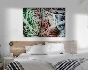 Encaustic Art blauw groen bruin wit
