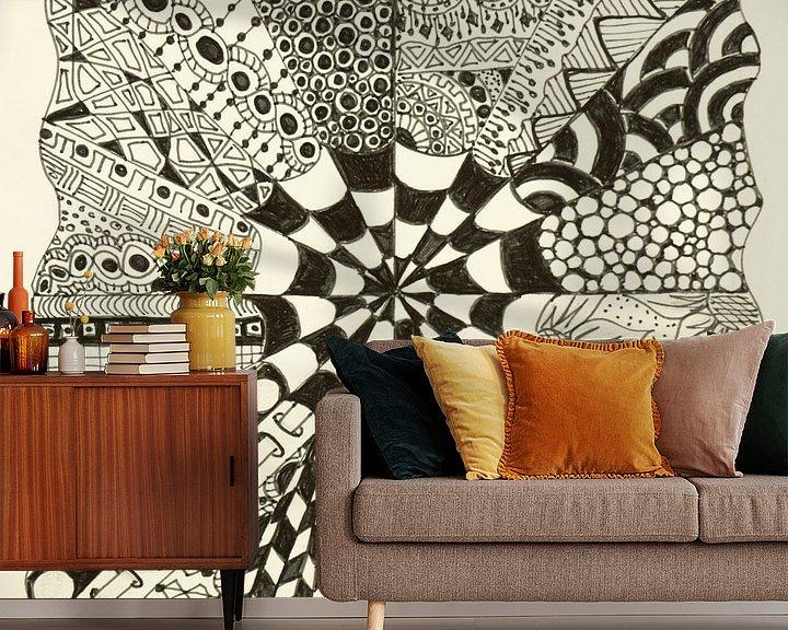 Sfeerimpressie behang: Zentangle Kunst van Anja  Bulté