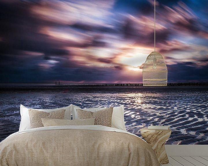 Sfeerimpressie behang: Zonsondergang Zoutelande van Tonia Beumer