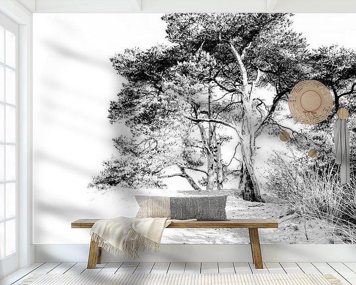 Sfeerimpressie behang: Kootwijkerzand highkey van Sandra Kuijpers