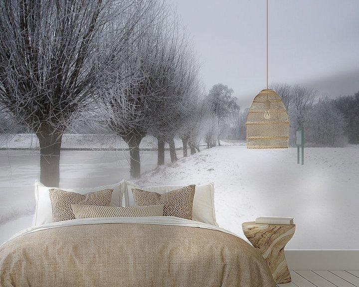 Sfeerimpressie behang: Nederlands winter landschap van Eus Driessen