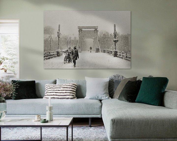 Sfeerimpressie: Magere brug in de sneeuw van Frank de Ridder