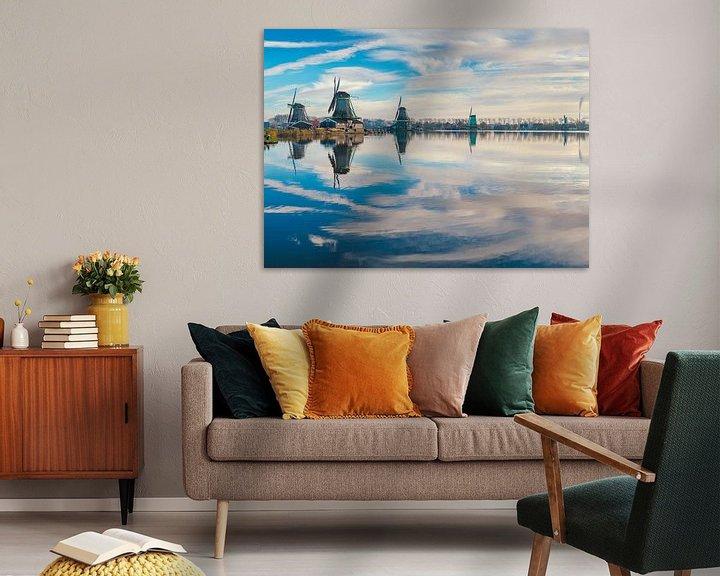 Sfeerimpressie: Molens aan de rivier De Zaan, Zaandam, Noord-Holland, Nederland van Rene van der Meer