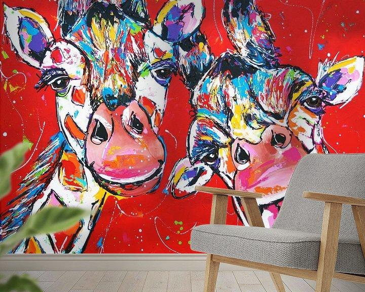 Beispiel fototapete: Fröhliche Giraffen von Vrolijk Schilderij