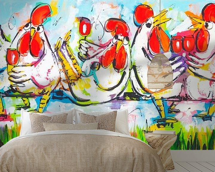 Sfeerimpressie behang: Plezier op de tandem van Vrolijk Schilderij