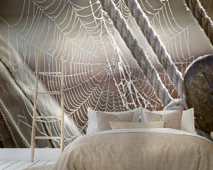Beispiel fototapete: Tau und Spinnennetz auf dem Segelboot von Fotografiecor .nl