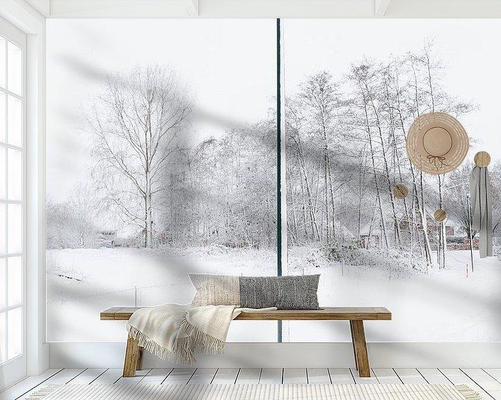 Sfeerimpressie behang: De eenzame sneeuwpaal, 2017 van Sander van der Veen