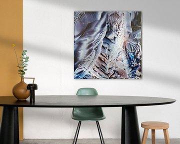 Encaustic Art blauw koper grijs wit van Erica de Winter