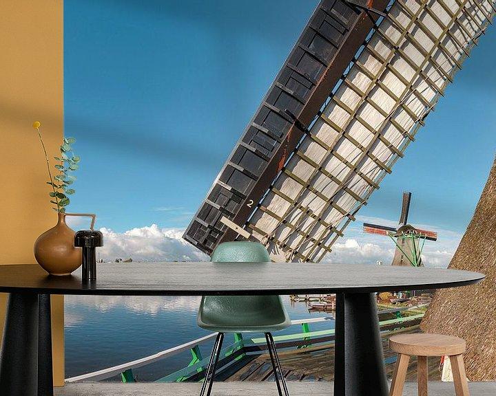 Sfeerimpressie behang: Houtzaagmolen Het Jonge Schaap aan de oever van de Zaan, Zaandam, , Noord-Holland van Rene van der Meer