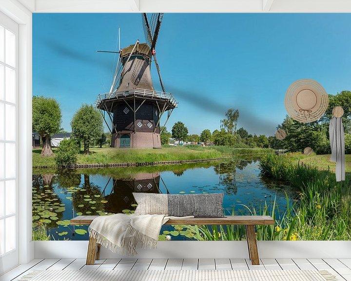 Sfeerimpressie behang: Stellingmolen Penninga's molen, Joure, , Friesland, Nederland van Rene van der Meer