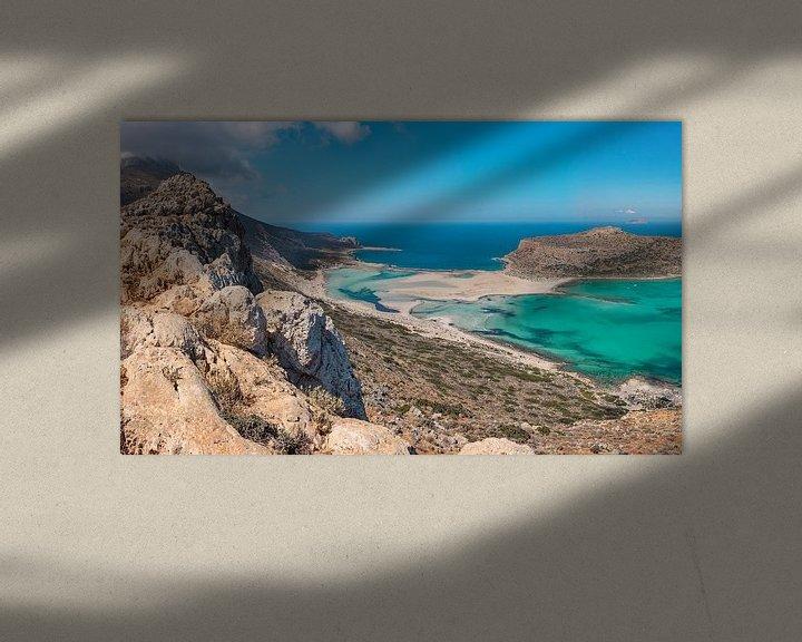 Sfeerimpressie: De balos lagune met kaap Tigani, Kissamos, Crete, Griekenland van Rene van der Meer
