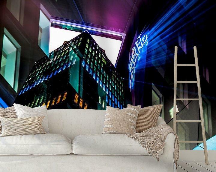 Sfeerimpressie behang: De A'DAM toren op een koude winteravond van Dennis Dieleman