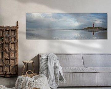 Vuurtoren en strand op Texel - panorama