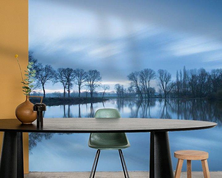 Sfeerimpressie behang: Overstroomde rivier de Dinkel  (long exposure) van Art Wittingen