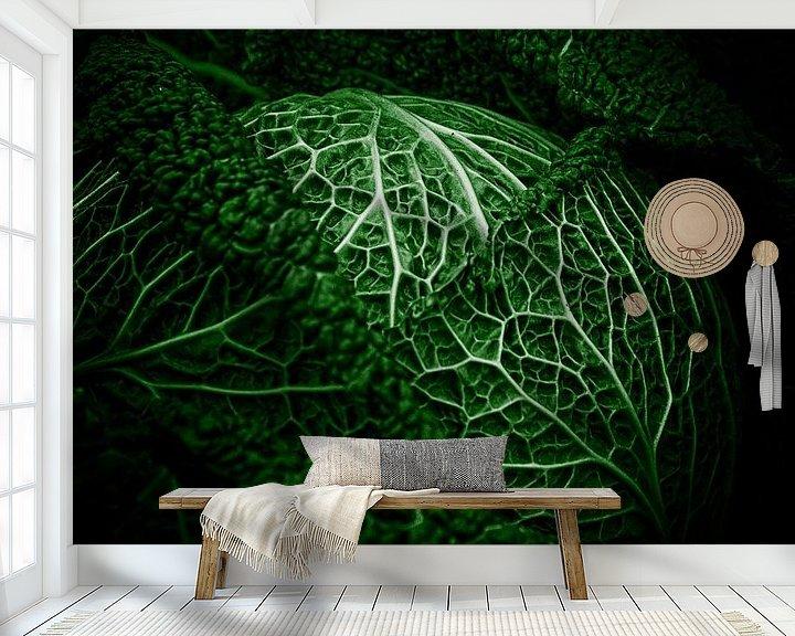 Sfeerimpressie behang: Groenteserie - Savooiekool van Wicher Bos
