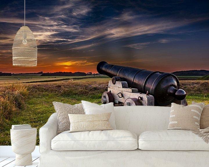 Sfeerimpressie behang: Kanon Fort de Schans  Texel van Texel360Fotografie Richard Heerschap