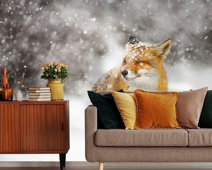 Sfeerimpressie behang: Sneeuwstorm van Pim Leijen