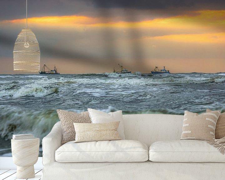 Sfeerimpressie behang: Noordzee met schepen van Dirk van Egmond