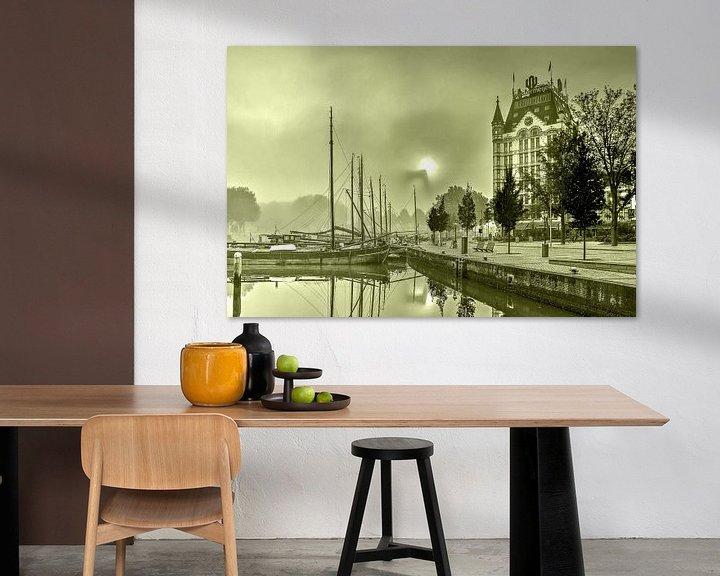 Sfeerimpressie: Mist bij de Oude Haven - monochroom van Frans Blok
