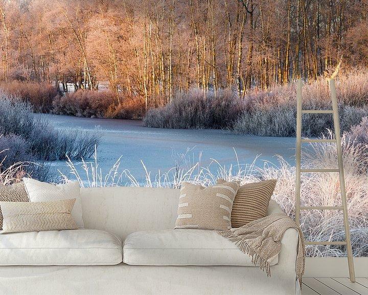Sfeerimpressie behang: Bevroren ven met berk en witte grassen van Karla Leeftink