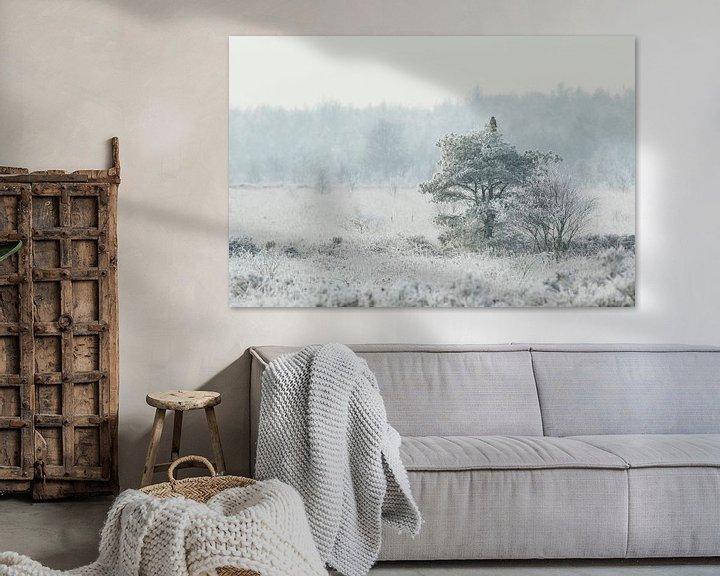 Sfeerimpressie: Buizerd in wit bevroren landschap van Karla Leeftink