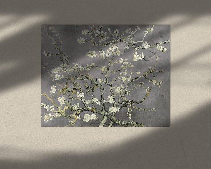 Beispiel:  Variation der Mandelblüten von Vincent van Gogh in Hellgrau