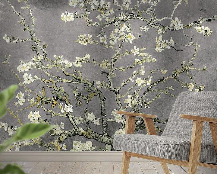Beispiel fototapete:  Variation der Mandelblüten von Vincent van Gogh in Hellgrau