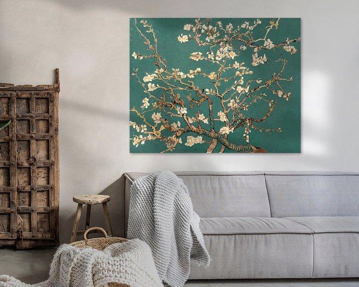 Sfeerimpressie: Amandelbloesem van Vincent van Gogh (deep green)