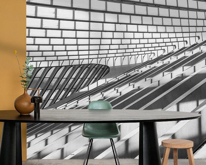 Sfeerimpressie behang: shadows and lines (B&W version) van Koen Ceusters