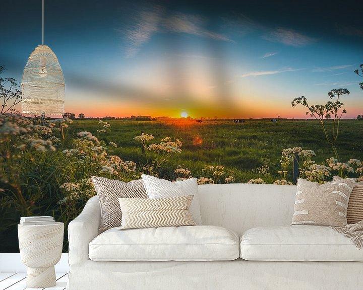Sfeerimpressie behang: Walcheren zonsondergang 2 van Andy Troy