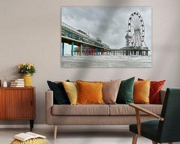 Am Pier von Scheveningen mit stürmischem Wetter. von Johan Kalthof