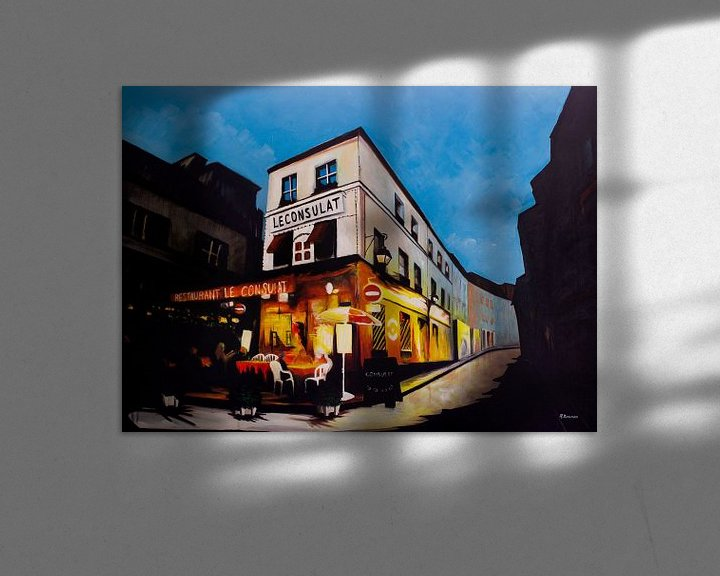 Sfeerimpressie: Restaurant Le Consulat in Parijs   Schilderij van WatercolorWall