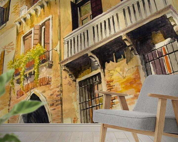 Sfeerimpressie behang: Balkon in Venetië | Schilderij van WatercolorWall