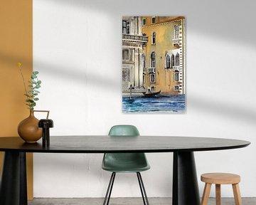 Gondelrit in Venetië | Schilderij van WatercolorWall