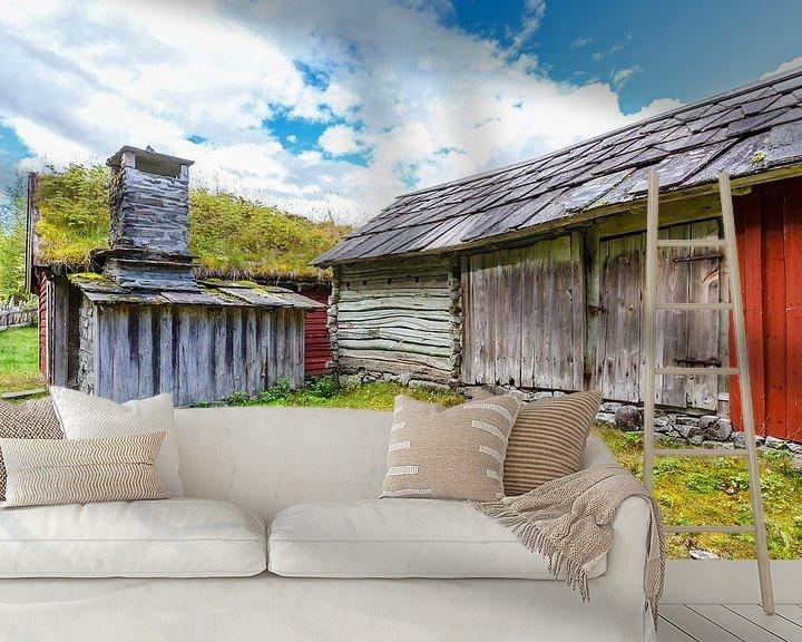 Sfeerimpressie behang: Oude schuur in Noorwegen van Pim Leijen