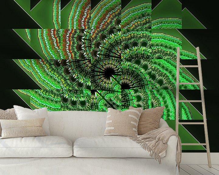Sfeerimpressie behang: Green fractal van Leopold Brix