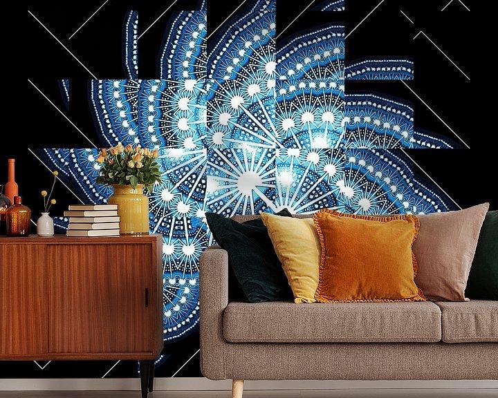 Sfeerimpressie behang: Blue fractal #2 van Leopold Brix