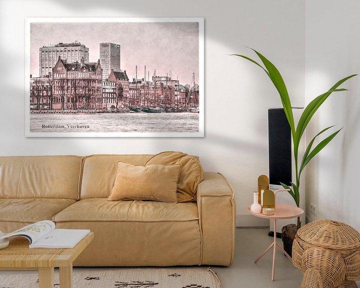 Beispiel: Vintage-Postkarte: Rotterdamer Fährhafen von Frans Blok