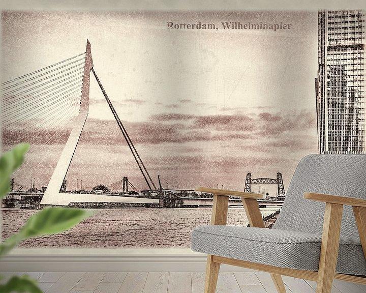 Sfeerimpressie behang: Oude ansichten: Wilhelminapier en Erasmusbrug van Frans Blok