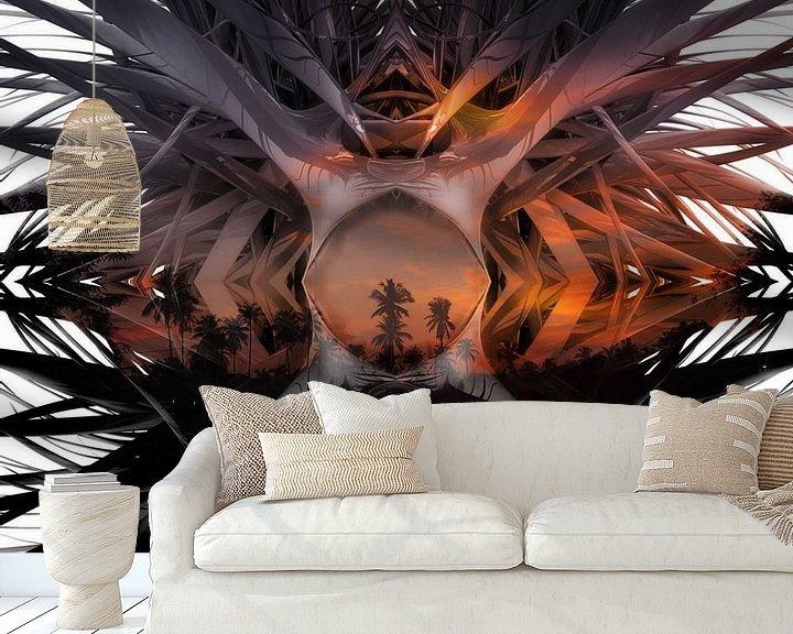 Sfeerimpressie behang: Palmboom landschap van Marcel van Berkel