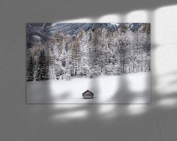 Hut in een sneeuwlandschap van Thomas Lang
