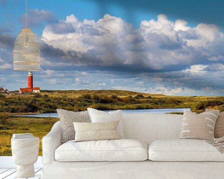 Sfeerimpressie behang: Vuurtoren Eielerland vanaf De Noordkaap - Texel van Texel360Fotografie Richard Heerschap