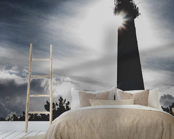 Sfeerimpressie behang: Silhouet Vuurtoren Ameland van Nico van der Vorm